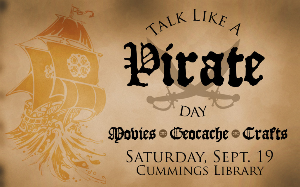 "An example of a digital sign advertising a ""Talk like a Pirate Day"" event at our library. It shows an example of quick, clear, and concise design."