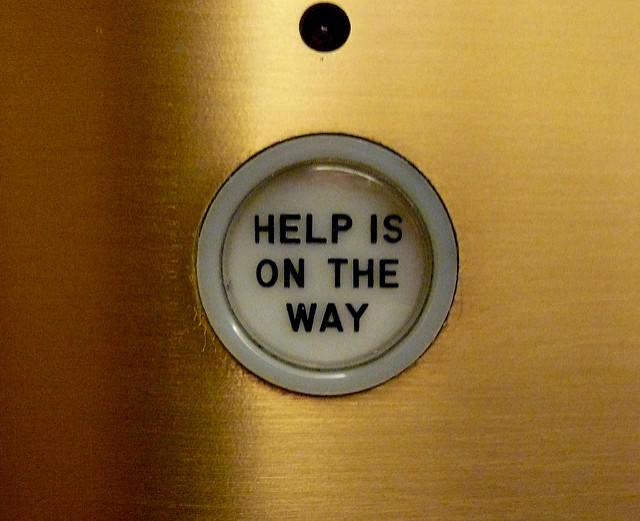 Help is on the way elevator button