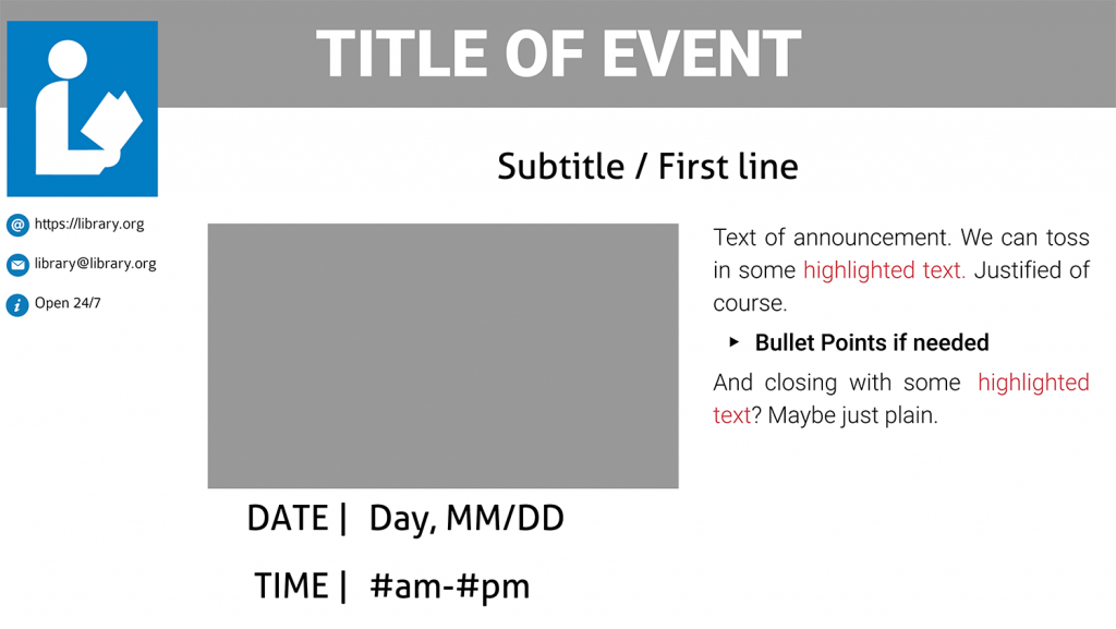 Upcoming Event template blank