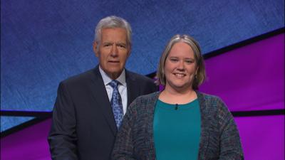 Joanna Messer Kimmitt and Alex Trebek on Jeopardy!