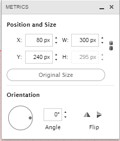 Adjust shapes by clicking on corners or select Metrics to adjust to specific size.