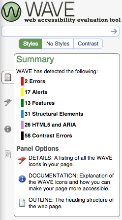 Screenshot of WAVE web accessibility test results