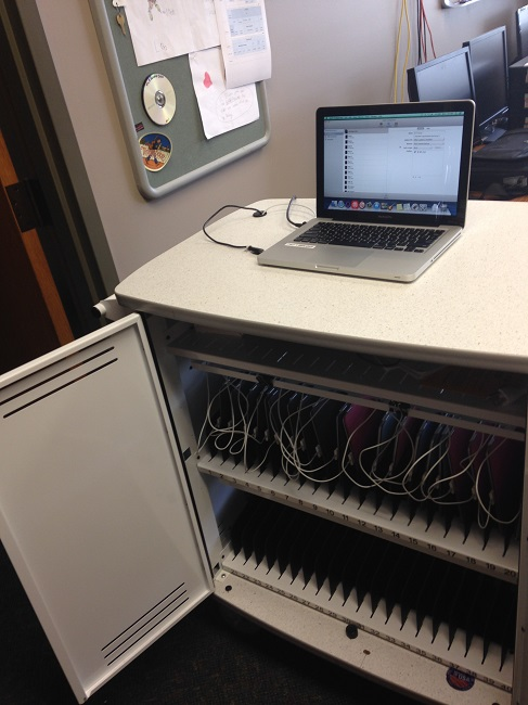 Charging cart filled with ipads