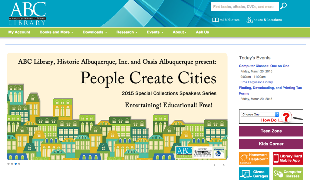 Albuquerque and Bernalillo County (ABC) Library homepage