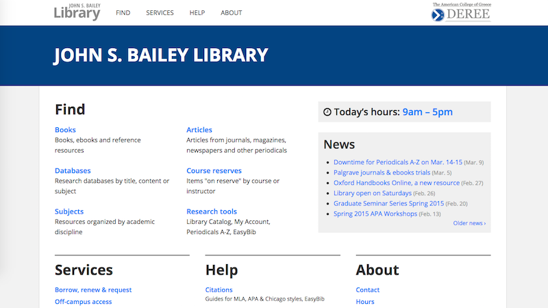 John S. Bailey Library homepage