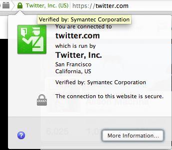 Fig. 1: Clicking the lock icon next to a site with TLS/SSL enabled will bring up a window that looks like one above. You can see here that Twitter is running on HTTPS, signed by the certificate authority Symantec.