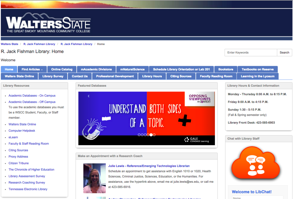 Walters State Community College Library homepage